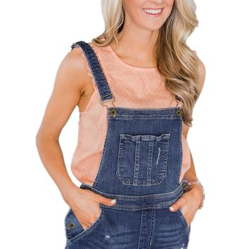 Womens Dark Blue Stretch Cotton Denim Short Overalls