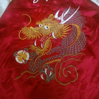 Sukajan Red Dragon Yokosuka  Embroidered Bomber Souvenirs Satin Medium Jacket