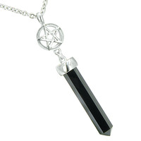 Magic Energy Powers Star Pentacle Amulet Crystal Point Charm Simulated Onyx Pendant 22 Inch Necklace