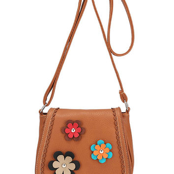 Laser-Cut Flower Patch Saddle Bag