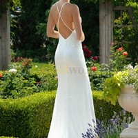 [US$197.99] Sheath Spaghetti V-Neck Backless Satin Chiffon Wedding Dress