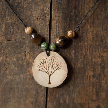 Wood Burned Tree Pendant with tigers eye and jasper semiprecious stones on natural hemp cord necklace
