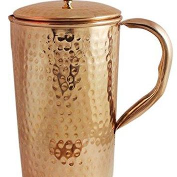 Zap Impex Pure copper hammered jug with lid for the health benefits copper water pitcher 1600 ml