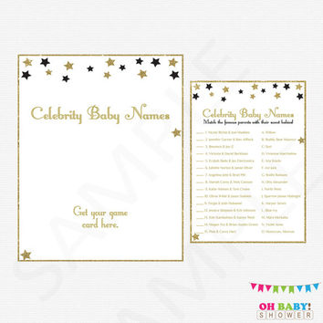 Black and Gold Baby Shower, Twinkle Twinkle Little Star Baby Shower, Celebrity Baby Name Game, Printable Baby Shower, Instant Download STBLG