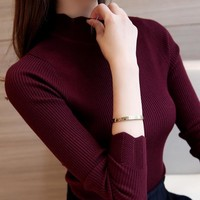 Korean Fashion Women Sweaters and Pullovers Sueter Mujer Ruffled Sleeve Turtleneck Solid Slim   Elastic Women Tops