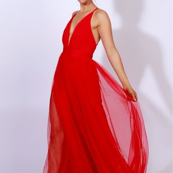 Sheer Mesh Maxi Dress Red