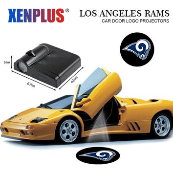 2pc Car Door Welcome Lights for Los Angeles Rams LED Projector Logo NFL Atmosphere Car-styling Decorative Lamp For Skoda Audi