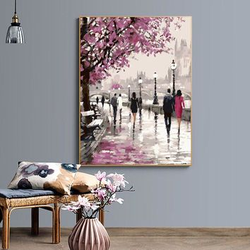 "DIY Painting by Numbers Canvas Painting Set - ""Cherry Blossom Lane"""