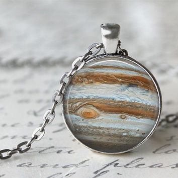 Jupiter Necklace, Galaxy Jewelry, Planetarium Necklace, Planet Necklace