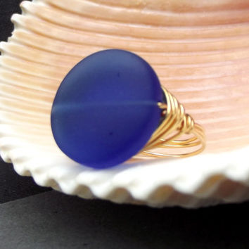 Cobalt Blue Statement Ring:  Midnight Blue Sea Glass Ring, 24K Gold Plated Wire Wrapped Ring, Nautical Beach Jewelry