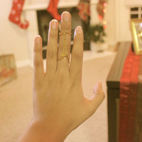 Gold Double Ring w/Chain