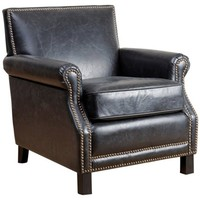 Lawrence Club Chair, Black Leather
