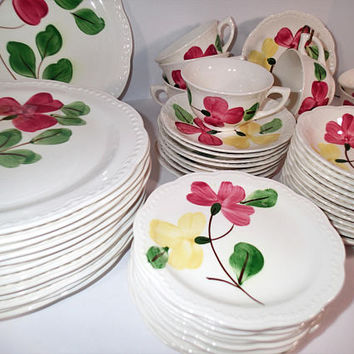 Stetson Heritage Dinnerware Set, hand painted yellow and pink flowers 55 piece set