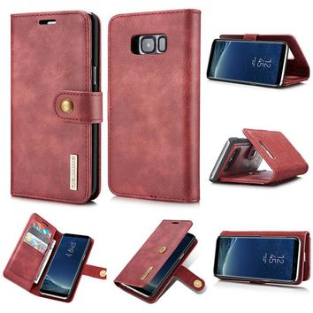 DG.MING Luxury Leather Phone Case For Samsung Galaxy S8 S8 Plus Cover Detachable Flip Wallet Magnetic Buckle Mobile Phone Shell