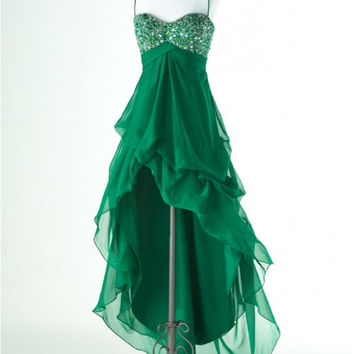 Homecoming Dress,Spaghetti Straps Green High Low  Chiffon Short Prom Dress