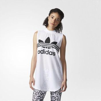 DCCKH3L Adidas' Fashion Casual Clover Letter Print Sleeveless T-shirt Tops