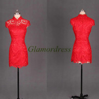 short red lace Chinese cheongsam for wedding party unique vintage prom dress hot discount homecoming gowns under 150 bridesmaid dress