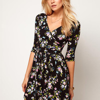 Black Floral Half Sleeve Deep V-Neck High Waisted Mini Dress