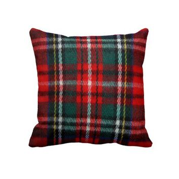 Realistic Tartan Plaid Texture Throw Pillow from Zazzle.com