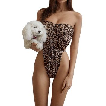 One Piece Playsuit Print Leopard Dot Romper Women Sexy Backless Strapless Bandage Lace Up Bodysuits Jumpsuit Summer Beach Wear