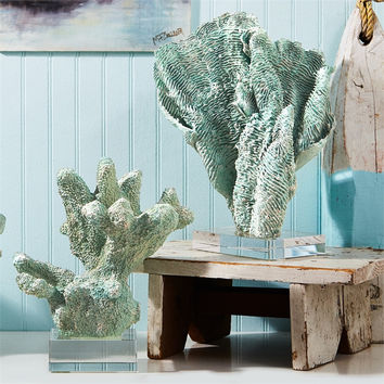 Green Coral Scupltures with Base - Set of Two
