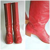 Vintage Raspberry pink leather high boots with small heel. size US 7, Aus 5.5 European 37.5