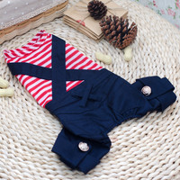 Navy Pants with Stripe T-Shirt