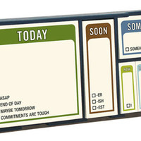 STICKY SET WHENEVER / Tray: 7.375 x 3.8125 x 1.125 inches. 6 sticky pads, 100 sheets each; paper-wrapped chipboard tray.