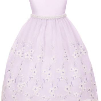 Lavender Satin with Floral Embroidered Crystal Organza Overlay Occasion Dress (Girls Sizes 2T - 12)