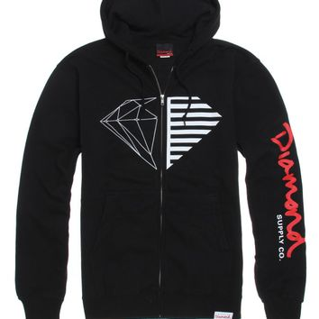 Diamond Supply Co Split Script Logo Zip Hoodie - Mens Hoodie - Black