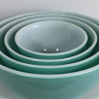 Pyrex Turquoise - Aqua Blue - Teal, Nesting Bowl Set of 4, Blue Green Mixing Bowl Set