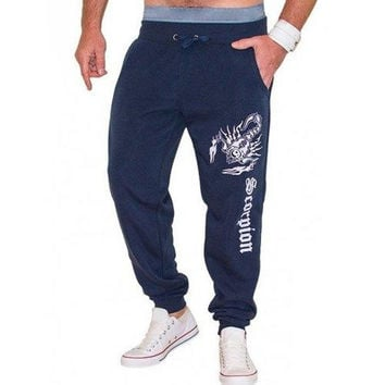 Lace-Up Scorpion and Letters Print Beam Feet Jooger Pants For Men
