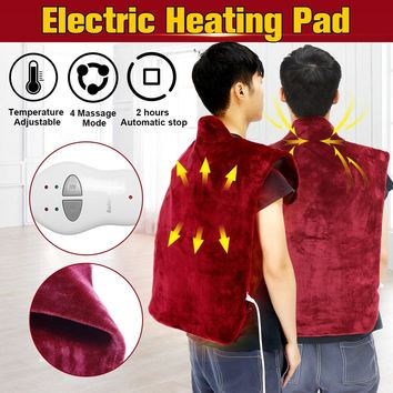 220V 70W Electric Heated Blanket Flannel Extra-Long Massaging  Muscles Neck Pain Pad Russet Relief Wrap Winter Warm Health Care