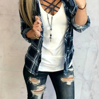 Penny Plaid Flannel Top: Navy/Lt.Blue