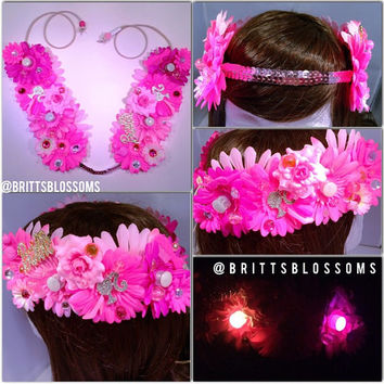 Barbie LED Blossom Crown, Flower Halo, Flower crown, Flower headband, Festival, Hippie Headband, Coachella, Rave, Bridal