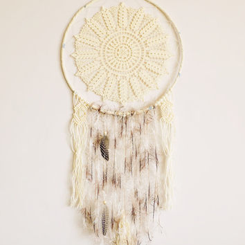 Dream catcher, wall hanging, doily dreamcatcher, boho, large, bedroom, crochet mandala, crochet doily, home decor, wall hanging, handmade