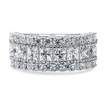 A Perfect 8.6TCW Princess Cut Russian Lab Diamond Half Eternity Ring
