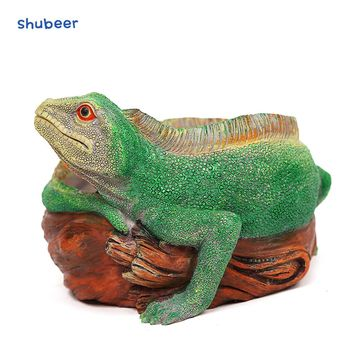 DIY Resin Lizard Flowerpot Planter Vase Hole Flower Plant Succulents Container Bonsai Home Table Garden Decoration Ornament