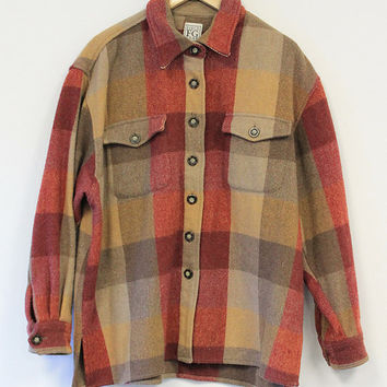 Vintage Wool Flannel Button Up Jacket Field Gear Brand Weasel Vintage Rare Plaid