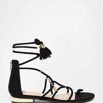 River Island Tie Up Gladiator Flat Sandals