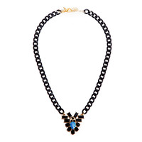 Metallic Black & Blue Rabbit Hole Necklace