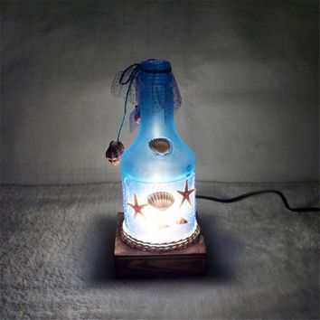 Colorful Bottle Style Star Night Light Creative Romantic Ocean Style Bottle Table Lamp