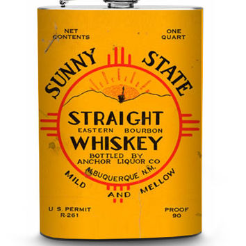 Sunny State Straight Whiskey Vintage Liquor Label Stainless Steel 8oz Hip Flask Albuquerque New Mexico
