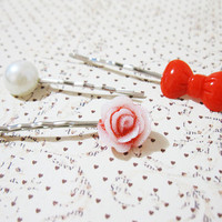 Flower Bobby Pins - Silver Bobby Pins - Glitter Flower Hair Accessory - Cute Red Bow Pin - Pearl Bobby Pin - Curved Bobby Pins - Set of 3