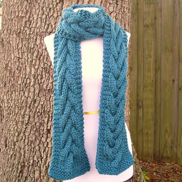 Hand Knit Scarf Cable Scarf in Teal Blue Winter by pixiebell