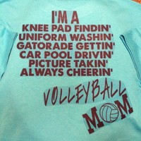Turquoise Volleyball Mom Duties Crew Tshirt (Personalized. See Below.)