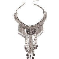 Silver Sigma Statement Necklace