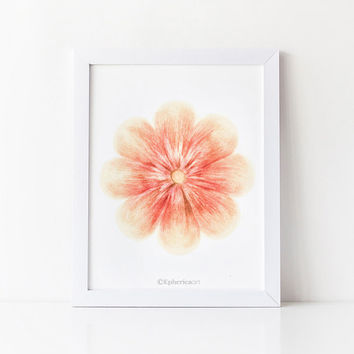Coral flower art, Coral decor Flower wall art, Home decor art print, Digital art PRINTABLE wall decor, Room decor wall art print Bedroom art