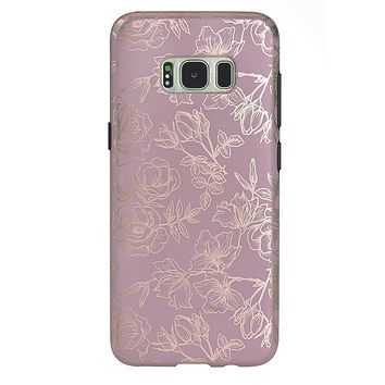 Dusty Rose Chrome Floral Samsung Galaxy Case