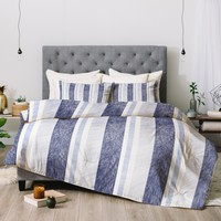 Pimlada Phuapradit Blue and white painted stripe Comforter